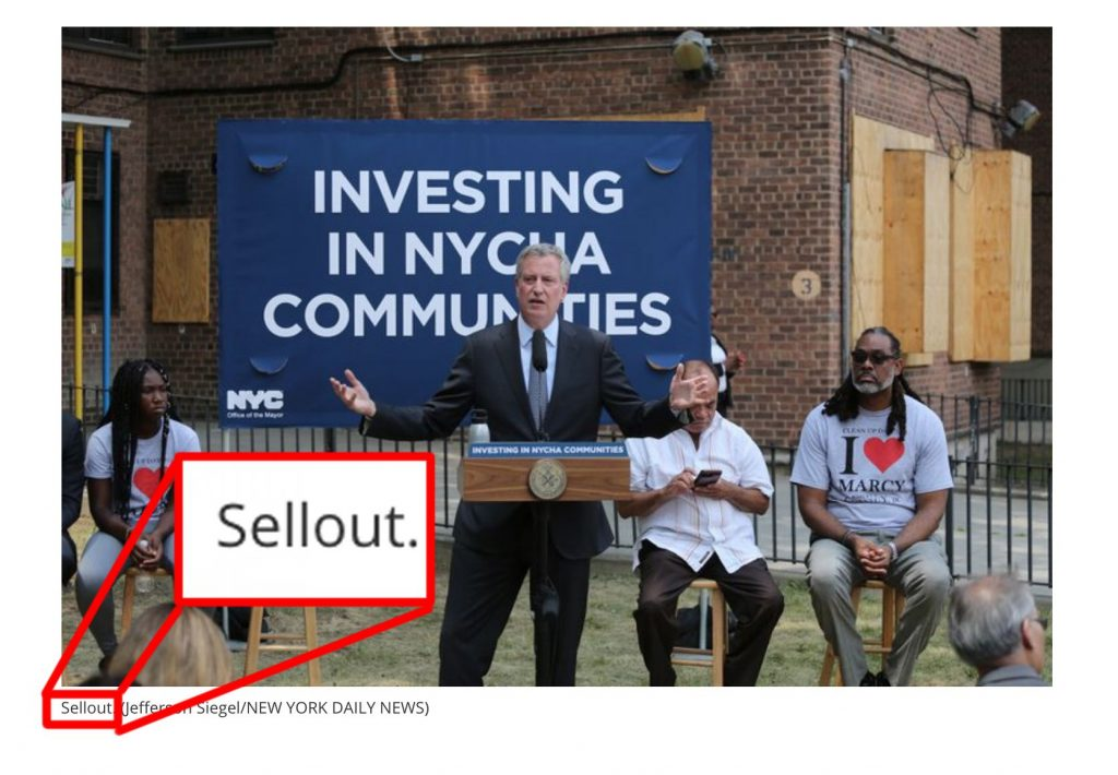 Bill de Blasio : Sellout on NYCHA ?
